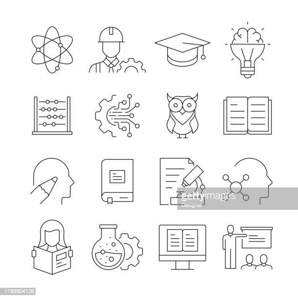 simple set of stem education related vector line icons. outline symbol collection. editable stroke - stem topic stock illustrations