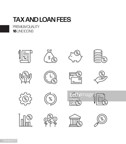 simple set of tax and loan fees related vector line icons. outline symbol collection - fee stock illustrations