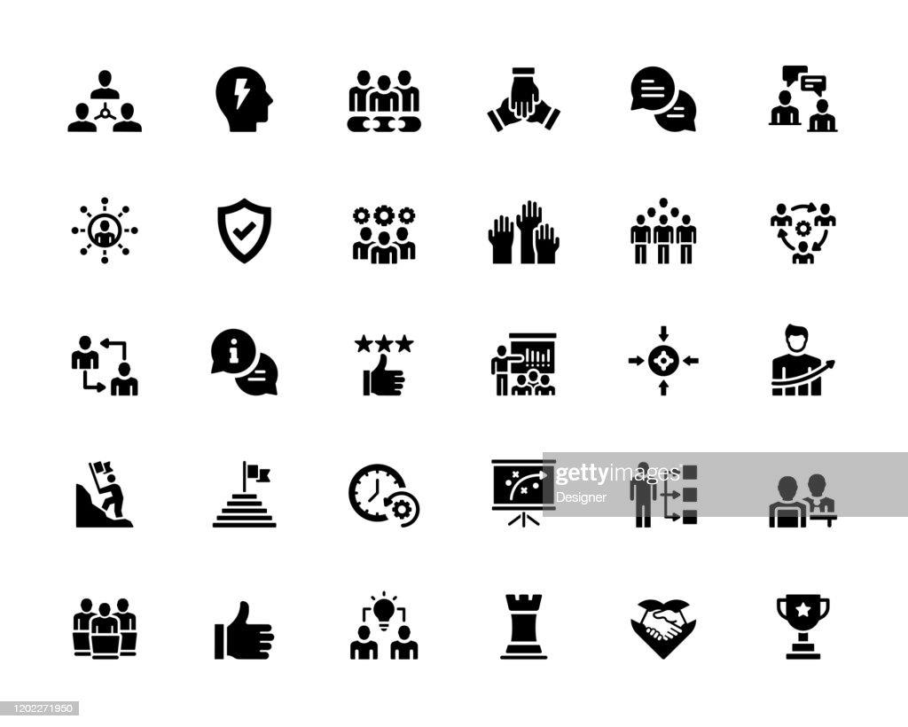 Semplice set di icone vettoriali correlate al lavoro di squadra. Collezione symbol : Illustrazione stock
