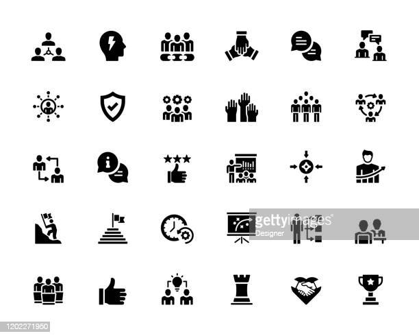 simple set of teamwork related vector icons. symbol collection - employee engagement stock illustrations