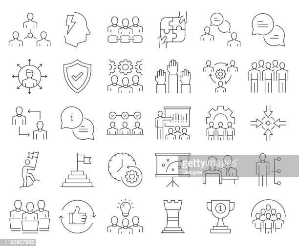 illustrazioni stock, clip art, cartoni animati e icone di tendenza di set semplice di icone di linea vettoriale correlate al lavoro di squadra. insieme outline symbol. tratto modificabile - collega d'ufficio