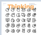 Simple Set of Thinking and Human mind .Vector Icons. Editable Stroke. 48x48 Pixel Perfect