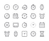 Simple Set of Time and Clock Line Icon. Editable Stroke