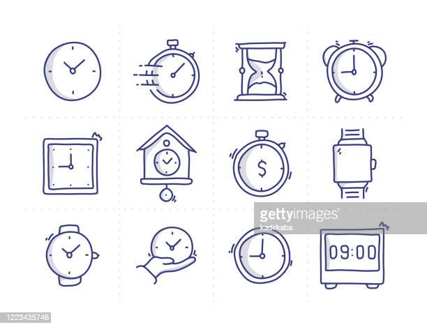 simple set of time management related doodle vector line icons - instrument of time stock illustrations