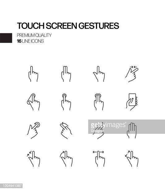 simple set of touch screen gestures related vector line icons. outline symbol collection - touchpad stock illustrations