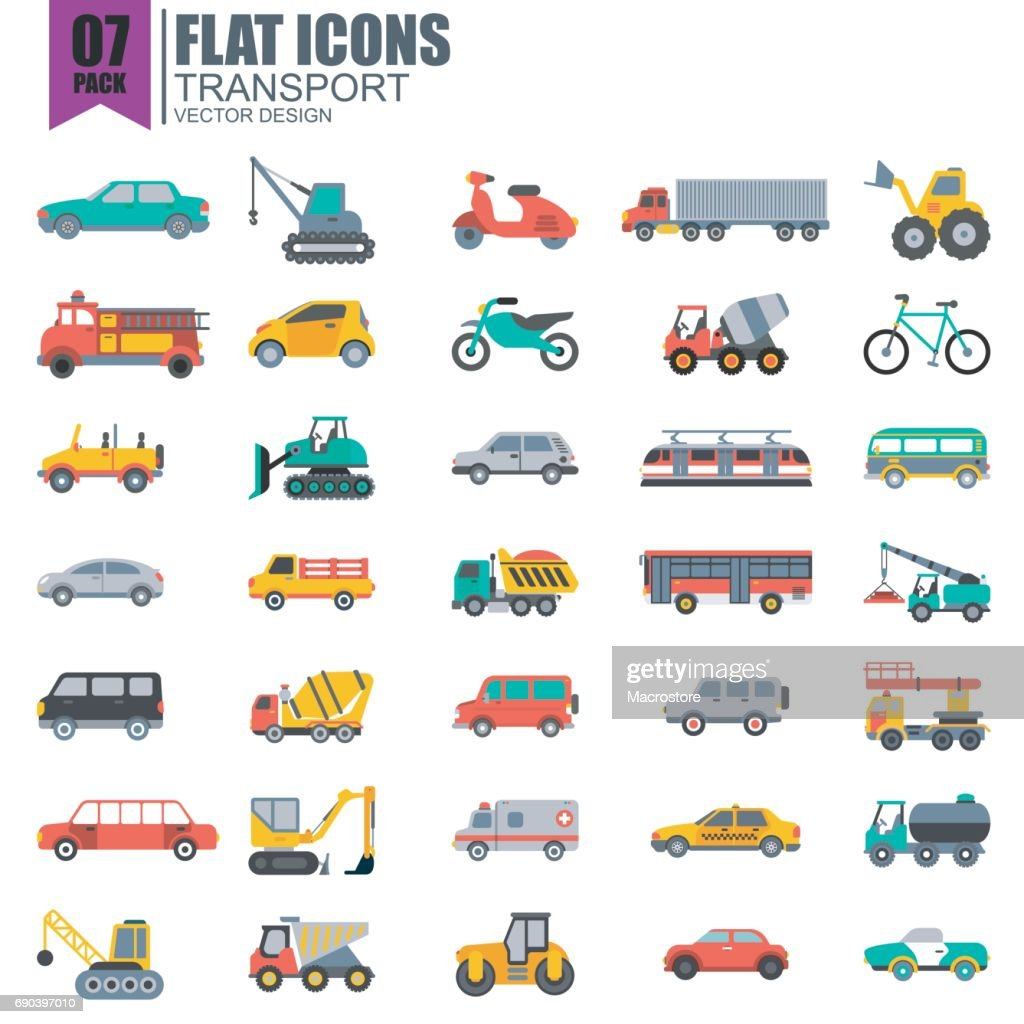 Simple set of transport flat icons