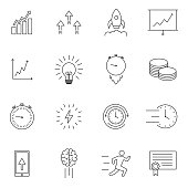 simple set of vector line icon, contain such lcon as speed, agile, boost, process, time and more. Vector symbols isolated on a white background. Simple pictograms.