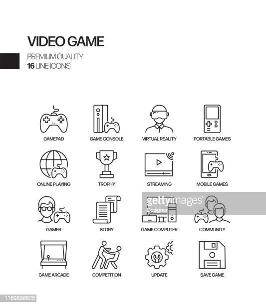 illustrazioni stock, clip art, cartoni animati e icone di tendenza di simple set of video game related vector line icons. outline symbol collection - realtà virtuale