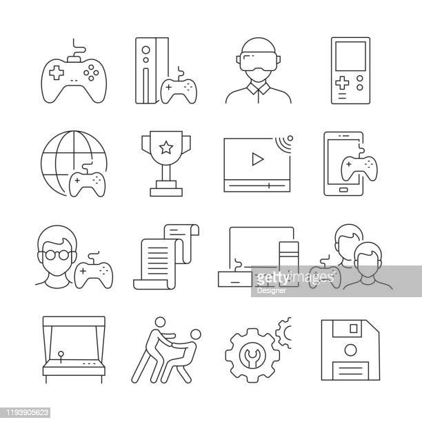 simple set of video game related vector line icons. outline symbol collection. editable stroke - leisure games stock illustrations