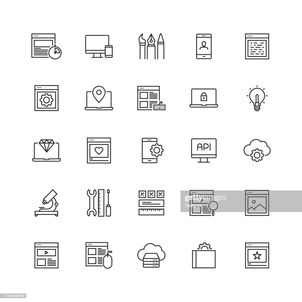 Web デザインおよび開発関連ベクターラインアイコンのシンプルなセット : ストックイラストレーション