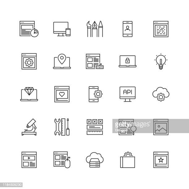 web デザインおよび開発関連ベクターラインアイコンのシンプルなセット - ホームページ点のイラスト素材/クリップアート素材/マンガ素材/アイコン素材