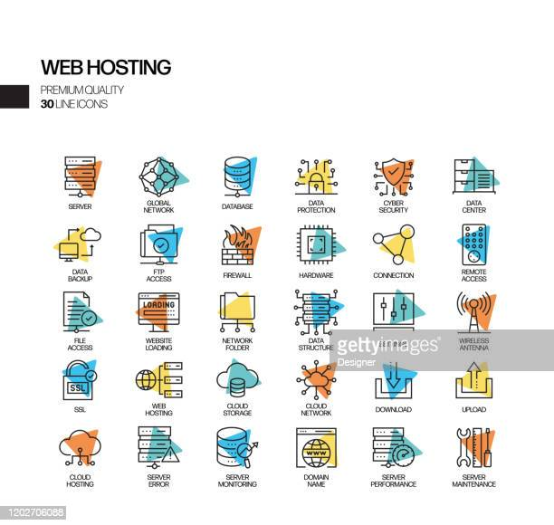 web ホスティング関連のスポットライト ベクトル 線アイコンの単純なセット。アウトラインシンボルコレクション - html点のイラスト素材/クリップアート素材/マンガ素材/アイコン素材