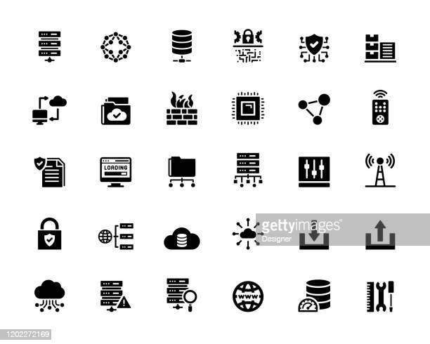 illustrazioni stock, clip art, cartoni animati e icone di tendenza di set semplice di icone vettoriali correlate all'hosting web. collezione symbol - centro elaborazione dati