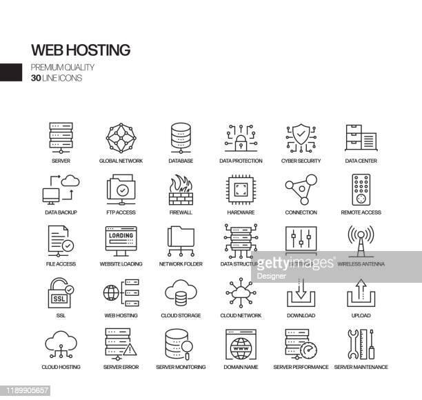 einfache satz von web hosting verwandte vektor linie icons. umrisssymbol-auflistung - software stock-grafiken, -clipart, -cartoons und -symbole