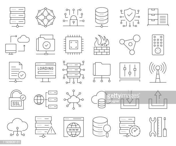 illustrazioni stock, clip art, cartoni animati e icone di tendenza di set semplice di icone di linee vettoriali correlate all'hosting web. insieme outline symbol. tratto modificabile - centro elaborazione dati