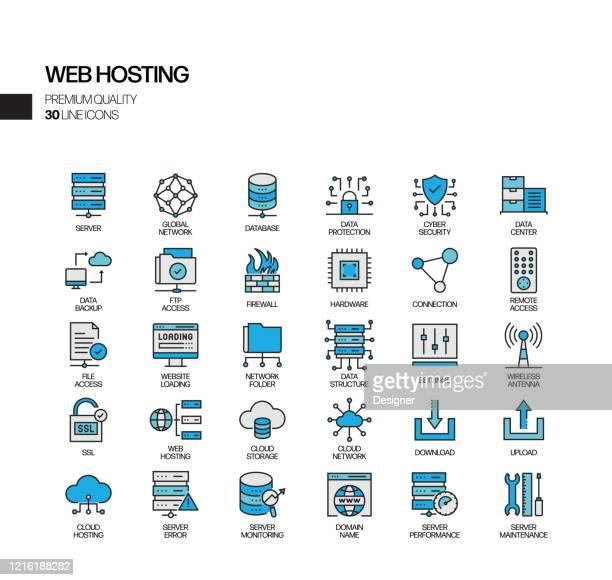 illustrazioni stock, clip art, cartoni animati e icone di tendenza di set semplice di icone di linee vettoriali correlate all'hosting web. insieme outline symbol - centro elaborazione dati