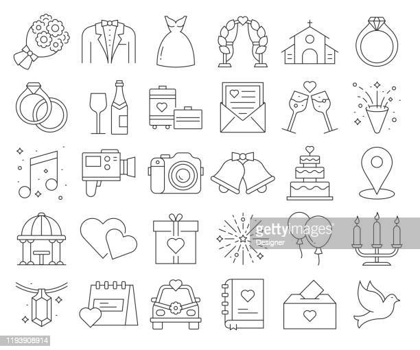 simple set of wedding related vector line icons. outline symbol collection. editable stroke - married stock illustrations