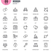 Simple set of wedding related vector line icons
