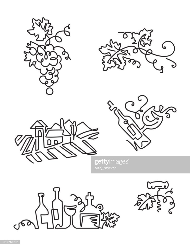 Simple Set of Wine Icons. Line art. Includes such Icons as grapes, bottle of wine with label, grape leaves, vineyard.
