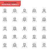 Simple Set People Avatar Line Icons