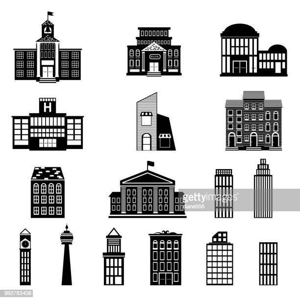 simple silhouette buildings - tower stock illustrations