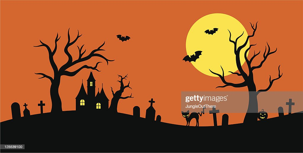 Simple silhouette drawing of Halloween with bats and cats