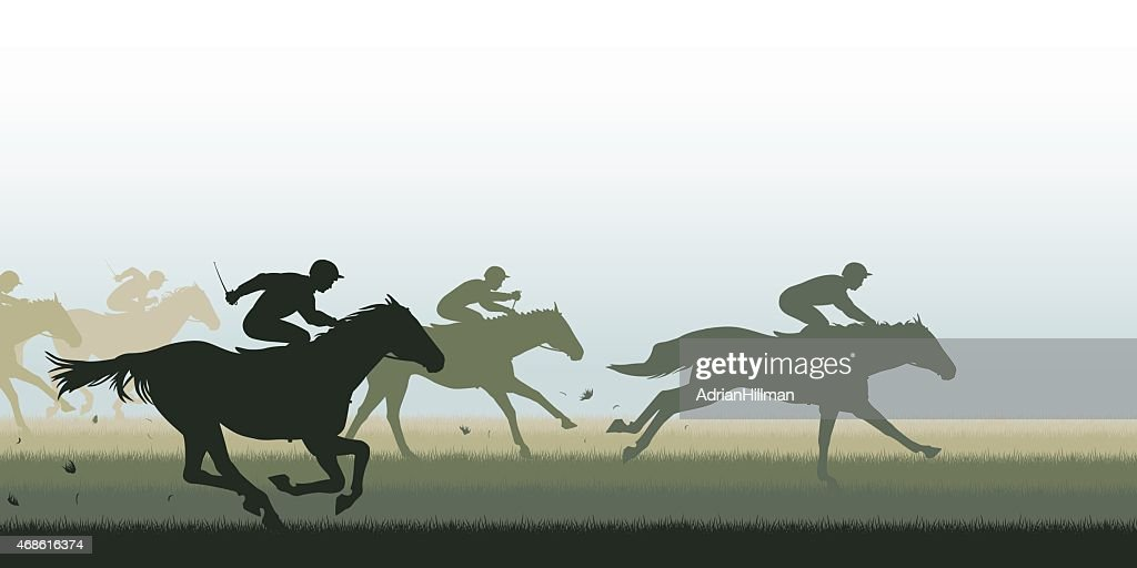 Simple silhouette horse race graphic