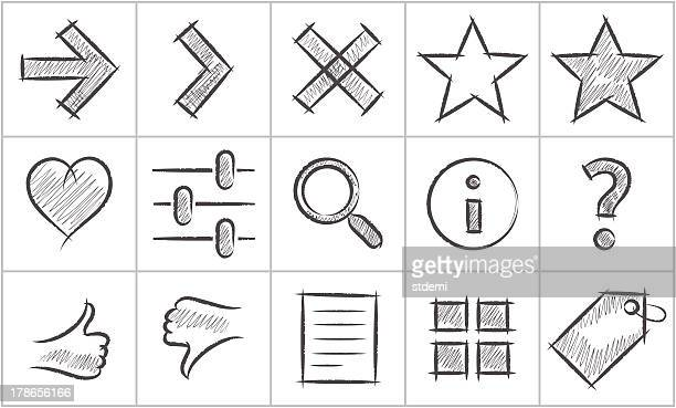simple sketch icons, part 1 - information symbol stock illustrations