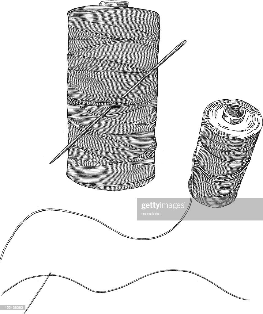 A Simple Sketch Of A Needle And Thread Vector Art | Getty Images