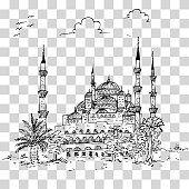 simple sketchy blue mosque historical building, istanbul turkey