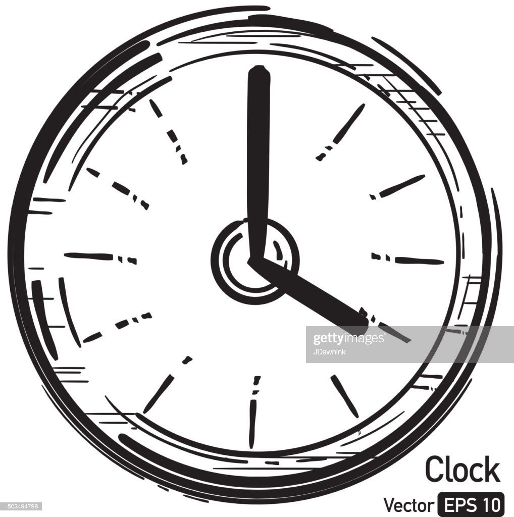 Simple sketchy modern clock face icon Royalty free