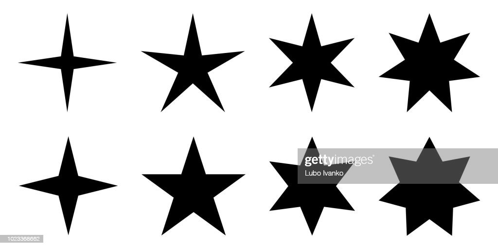 Simple star. 4, 5, 6 and 7 pointed version with two different angles.