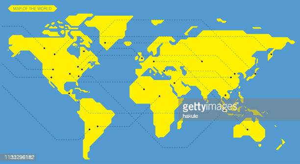 illustrazioni stock, clip art, cartoni animati e icone di tendenza di simple straight line business map of the world, vector background - semplicità