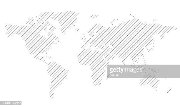 simple straight line business map of the world, vector background - west direction stock illustrations