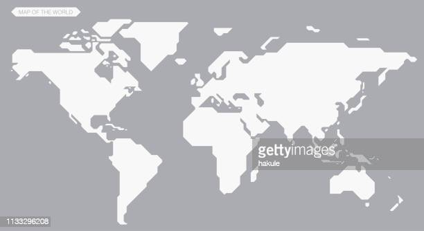 simple straight line map of the world, vector background - cartography stock illustrations