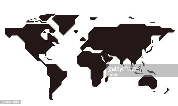 illustrazioni stock, clip art, cartoni animati e icone di tendenza di simple straight line map of the world, vector background - semplicità