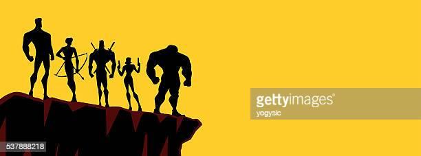 simple superheroes team silhouette - archery stock illustrations