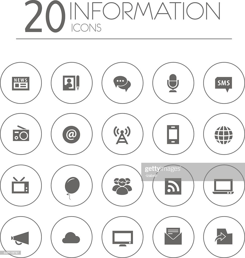 Simple thin information icons collection on white background