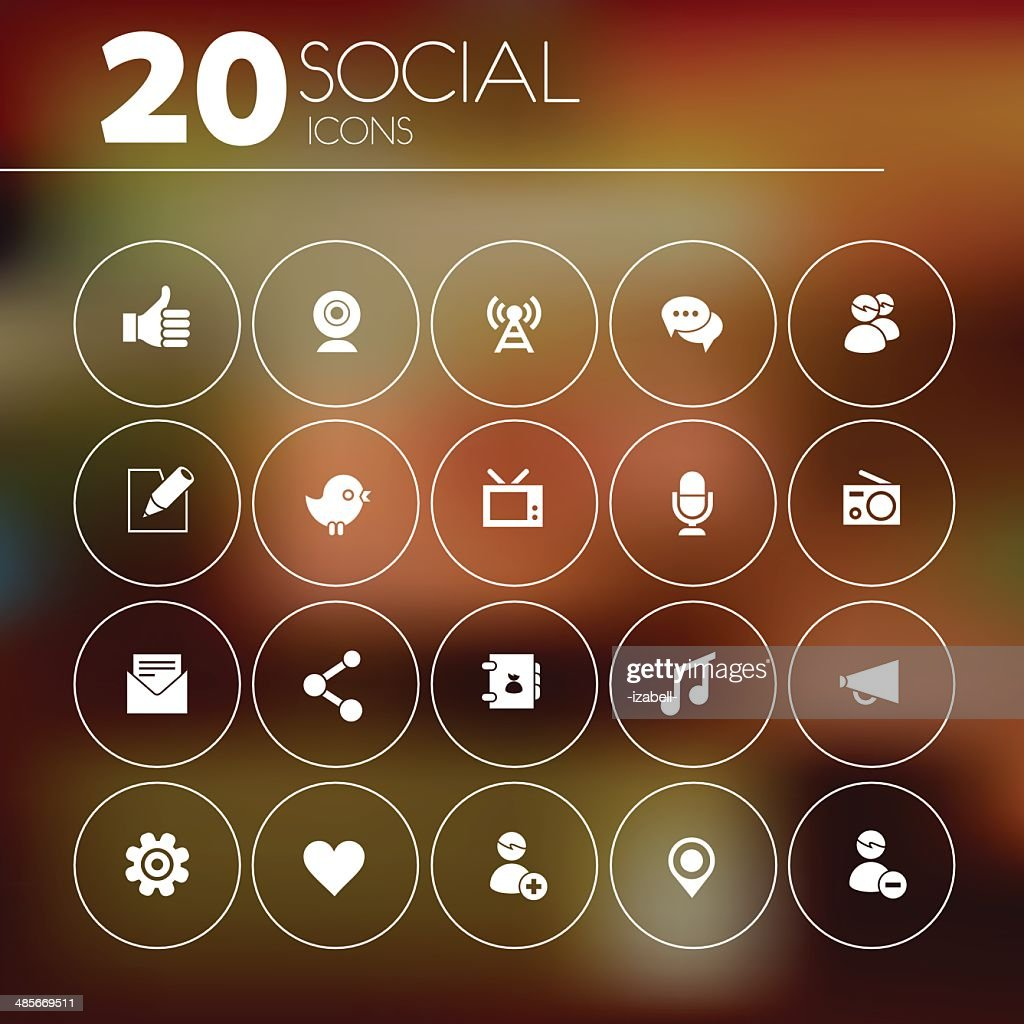 Simple thin social network icon pack
