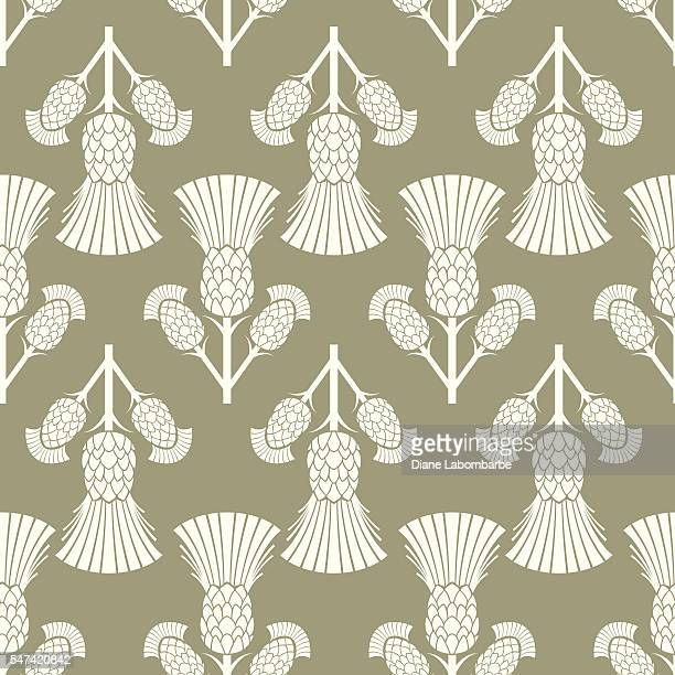 simple traditional style scottish thistle flower seamless pattern - thistle stock illustrations, clip art, cartoons, & icons