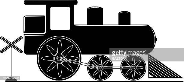 simple train silhouette - rail freight stock illustrations, clip art, cartoons, & icons
