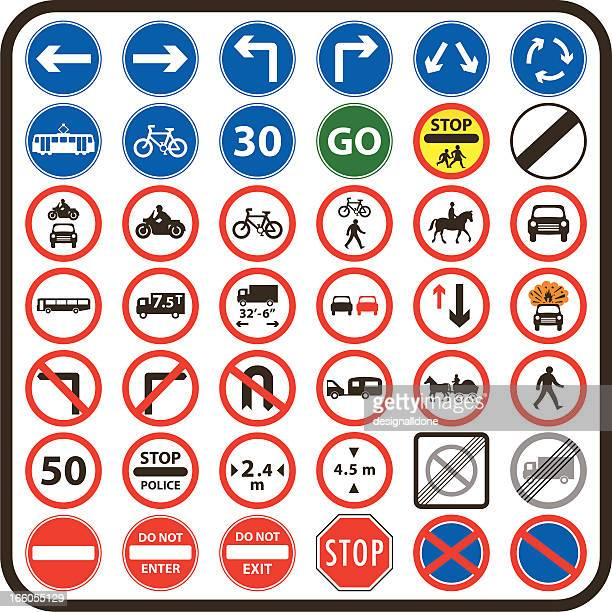 simple uk road signs: mandatory series - pedestrian stock illustrations, clip art, cartoons, & icons