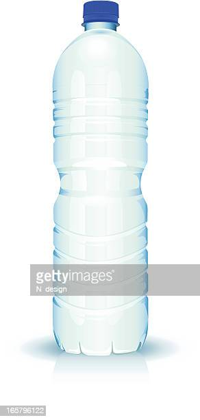 simple unlabeled clear plastic bottle of water - water bottle stock illustrations, clip art, cartoons, & icons