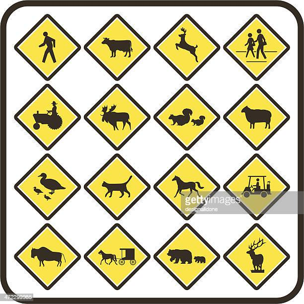 simple u.s. crossing signs - crossing sign stock illustrations, clip art, cartoons, & icons