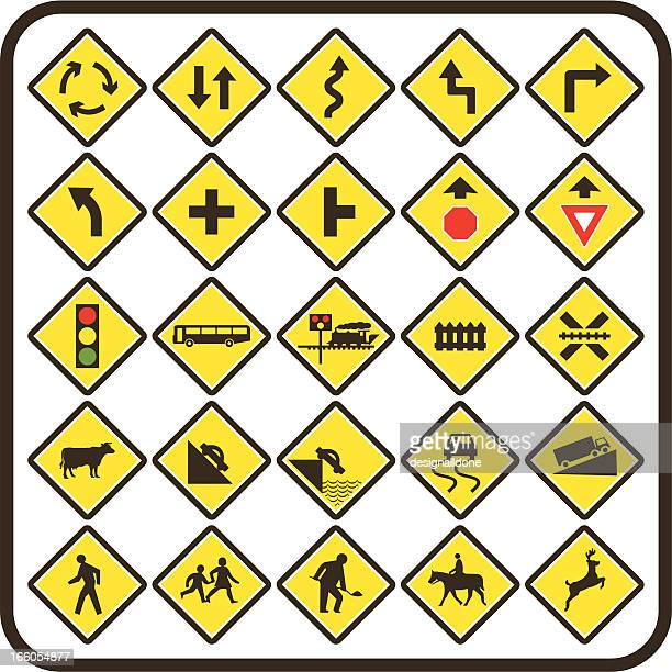 simple us road signs: warning series - steep stock illustrations, clip art, cartoons, & icons