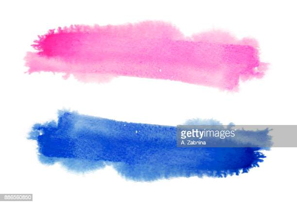 simple vector blue and pink watercolor stroke