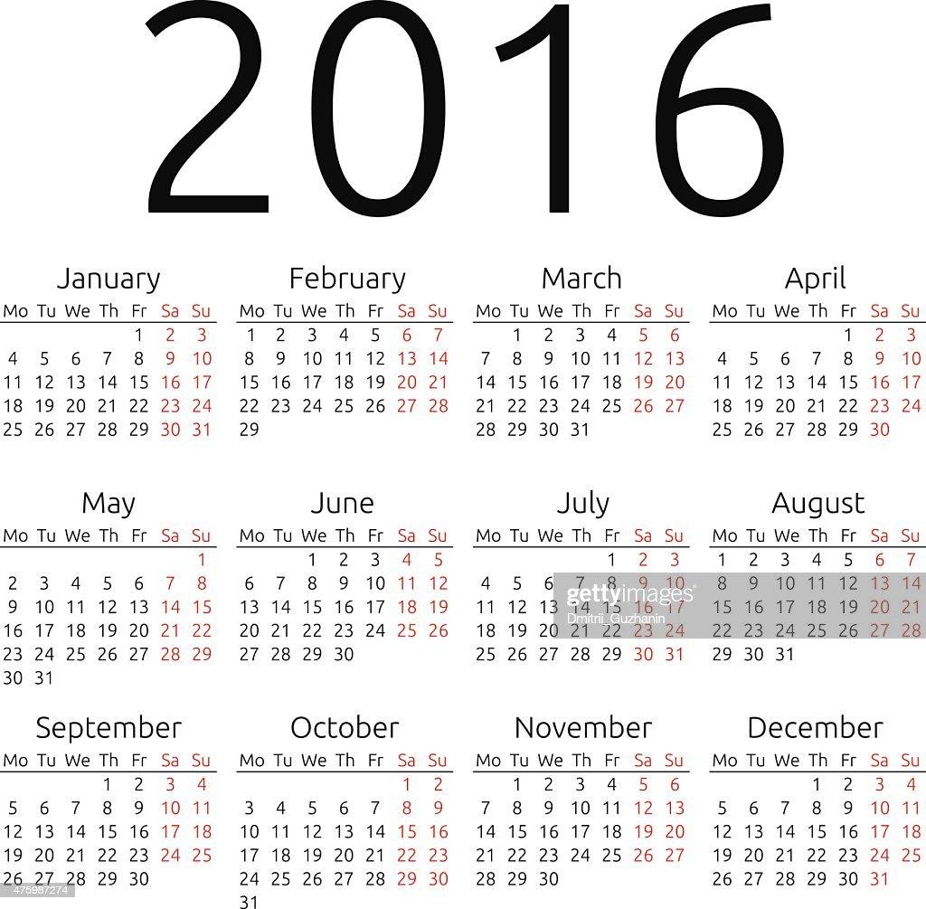 Simple vector calendar 2016