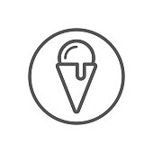 simple vector line art icon of ice cream in a round frame