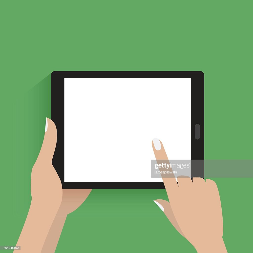 Simple vector of hands holding digital tablet.