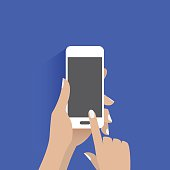 Simple vector of using smart phone.